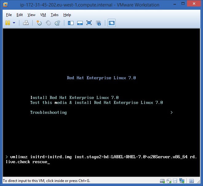 Boot RHEL 7.0 Rescue Mode
